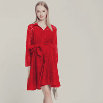 Dress Angela fan Red, black M,L,XL Europe and America Long sleeves Medium length autumn Lapel Solid color Lace