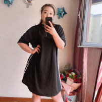 Women's large Summer 2021 Black (spot), black (pre sold for 1 week) 4X (200-260 kg recommended), 3x (160-210 kg recommended) Dress street Short sleeve Sports & Leisure