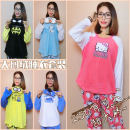 Pajamas / housewear set female Other / other L,1X,2X,3X Black bat, yellow yellow man, blue snowman, white donkey, purple alien, eye mask, pink cat other Long sleeves Cartoon Leisure home winter thickening Crew neck trousers 2 pieces
