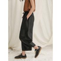 Casual pants Plain black S,M,L Summer 2021 Ninth pants Straight pants Natural waist commute Thin money 96% and above literature pocket