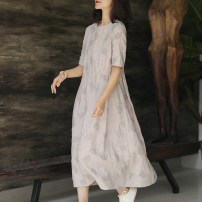 Dress Summer 2021 Lotus root gray S,M,L Mid length dress other Short sleeve commute Crew neck Loose waist Socket A-line skirt routine 30-34 years old Ma Lin literature More than 95% hemp