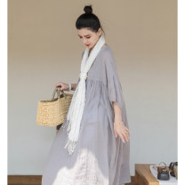 Dress Summer 2021 The sky is grey S, M longuette singleton  three quarter sleeve commute Crew neck Loose waist Solid color Socket Big swing puff sleeve Others 30-34 years old literature L6003 More than 95% hemp