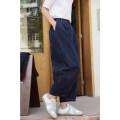 Casual pants indigo S,M,L Spring 2021 Ninth pants Wide leg pants Natural waist commute routine 96% and above K5175 Ma Lin cotton literature