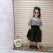 suit Other / other female summer Korean version Short sleeve + skirt 2 pieces routine There are models in the real shooting Socket nothing lattice children birthday Three, four, five, six, seven, eight, nine, ten, eleven, twelve