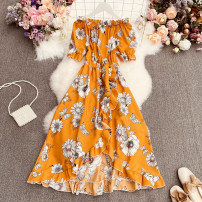 Dress Spring 2021 Yellow, apricot, red, pink Average size longuette singleton  Short sleeve commute One word collar High waist Decor Socket A-line skirt routine camisole 18-24 years old Type A Korean version printing Qimeng-1805-2 big flower one neck dress 30% and below Chiffon polyester fiber