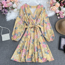 Dress Spring 2021 white , yellow , blue , red , black , Pink Average size Short skirt singleton  Long sleeves commute V-neck High waist Decor Socket A-line skirt routine Others 18-24 years old Type A lady printing Huizai - 6061V - 1 short neck Floral Dress 30% and below Chiffon polyester fiber