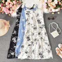 Dress Summer 2020 White, black, blue M,L,XL Mid length dress singleton  Sleeveless commute V-neck High waist Decor Socket A-line skirt routine camisole 18-24 years old Type A Korean version printing 31% (inclusive) - 50% (inclusive) other polyester fiber