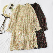Dress Autumn of 2019 White, black Average size Mid length dress singleton  Long sleeves commute Crew neck High waist Broken flowers Socket A-line skirt pagoda sleeve Others 18-24 years old Type A Korean version Bow, print Nini 64-656-8.28 pleated Floral Dress 30% and below other other