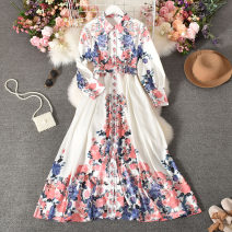 Dress Autumn 2020 white Average size longuette singleton  Long sleeves commute Polo collar middle-waisted Decor Socket Big swing routine Others 18-24 years old Type A court printing Qiner-9523-1 Lapel big flower with belt 30% and below other polyester fiber
