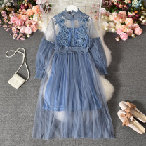 Dress Summer 2020 Black, khaki, apricot, pink, purple, denim Average size Mid length dress Two piece set Long sleeves commute stand collar High waist Solid color Socket A-line skirt routine Others 18-24 years old Type A Korean version Gauze Biejunyan-337 lace long sleeve dress with sling Lace