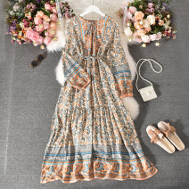Dress Summer 2020 Khaki, red, dark blue Average size longuette singleton  Long sleeves commute stand collar High waist Decor Socket A-line skirt routine Others 18-24 years old Type A ethnic style Fold, print Huizai-619 collar tie ethnic style long dress 30% and below other polyester fiber