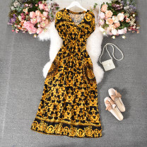 Dress Summer 2020 White, black, yellow Average size longuette singleton  Sleeveless commute V-neck High waist Decor Socket A-line skirt routine Others 18-24 years old Type A Korean version Fold, print 30% and below other polyester fiber
