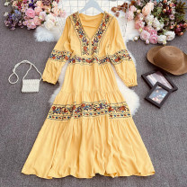 Dress Spring 2021 White, black, sapphire, yellow, red Average size longuette singleton  Long sleeves commute V-neck High waist Solid color Socket A-line skirt routine Others 18-24 years old Type A lady Print, fold Qin'er-9369 long sleeve embroidered dress 30% and below Chiffon polyester fiber