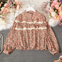 Lace / Chiffon Autumn 2020 Black, red, brown, yellow Average size Long sleeves commute Socket singleton  Straight cylinder Regular stand collar other bishop sleeve 18-24 years old Taotao-9312 stand collar Pullover lace long sleeve printing Korean version 30% and below polyester fiber