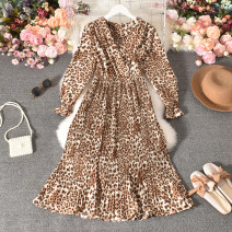 Dress Autumn 2020 Leopard Print Average size longuette singleton  Long sleeves commute V-neck High waist Leopard Print Socket A-line skirt routine Others 18-24 years old Type A Korean version printing Cheng cheng-8895-1 leopard V-Neck long sleeve dress 30% and below other polyester fiber