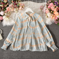 shirt Pink , yellow , violet , green Average size Autumn 2020 polyester fiber 30% and below Long sleeves commute Regular stand collar Socket routine stripe 18-24 years old Straight cylinder Korean version Xiaoqiu - 8872 wave lace up shirt bow blending