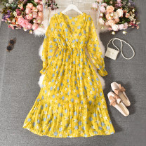 Dress Autumn 2020 Average size longuette singleton  Long sleeves commute V-neck High waist Decor Socket A-line skirt routine Others 18-24 years old Type A Korean version Fold, print 30% and below other polyester fiber