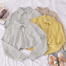 shirt Apricot, yellow, black on white, coffee on white Average size Spring 2020 polyester fiber 30% and below Long sleeves commute Regular Polo collar Single row multi button routine lattice 18-24 years old Straight cylinder Korean version Xiaofang - asymmetrical Plaid Shirt Button blending