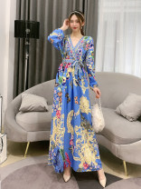 Dress Spring 2021 Yellow, blue, white, black, pink Average size longuette singleton  Long sleeves commute V-neck High waist Decor Socket A-line skirt routine 18-24 years old Type A Korean version printing Huizai-2020v collar butterfly flower dress 30% and below other polyester fiber