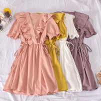 Dress Summer 2020 White, light purple, yellow, pink Average size Mid length dress singleton  Short sleeve commute V-neck High waist Solid color Socket A-line skirt pagoda sleeve Others 18-24 years old Type A Korean version fold Qiu danna-2035 two side bandage dress 30% and below other polyester fiber