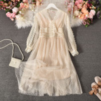 Dress Autumn 2020 Apricot, black, green, blue, pink M, L longuette singleton  Long sleeves commute V-neck High waist Solid color Socket A-line skirt routine Others 18-24 years old Type A literature Lace Biejunyan-622v collar lace skirt with sling 30% and below Lace polyester fiber