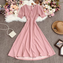 Dress Summer 2021 Pink Average size longuette singleton  Long sleeves commute V-neck High waist Decor Socket A-line skirt pagoda sleeve Others 18-24 years old Type A lady Button, print, fold 30% and below other polyester fiber