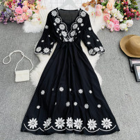 Dress Spring 2021 white , lilac colour , red , black , yellow Average size longuette singleton  Long sleeves commute V-neck High waist Abstract pattern Socket A-line skirt pagoda sleeve Others 18-24 years old Type A ethnic style Button, print, fold 30% and below Chiffon cotton