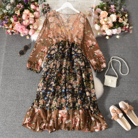 Dress Summer 2020 coffee Average size Mid length dress singleton  Long sleeves street V-neck High waist Decor Socket A-line skirt routine Others 18-24 years old Type A printing 31% (inclusive) - 50% (inclusive) Chiffon cotton Europe and America
