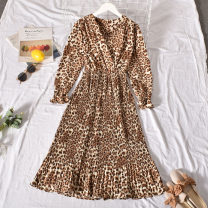 Dress Autumn 2020 khaki Average size longuette singleton  Long sleeves commute V-neck High waist Leopard Print Socket A-line skirt routine Others 18-24 years old Type A Korean version printing Cheng cheng-8895-1 leopard V-Neck long sleeve dress 30% and below Chiffon polyester fiber