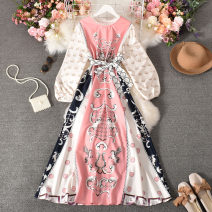 Dress Autumn 2020 Pink Average size longuette singleton  Long sleeves commute Crew neck High waist Decor Socket Big swing routine Others 18-24 years old Type A court printing 30% and below other polyester fiber