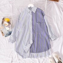 shirt blue Average size Summer 2020 polyester fiber 30% and below Short sleeve commute Medium length Polo collar Single row multi button routine stripe 18-24 years old Straight cylinder Korean version Print, button blending