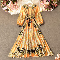 Dress Spring 2021 White, black, pink, blue, yellow Average size longuette singleton  Long sleeves commute Crew neck High waist Decor Socket A-line skirt routine Others 18-24 years old Type A court printing Huizai-2026 round skirt long skirt statue chain pattern 30% and below other cotton