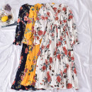 Dress Spring 2020 White, black, dark blue, green, yellow, red Average size longuette singleton  Long sleeves commute V-neck High waist Decor Socket A-line skirt pagoda sleeve Others 18-24 years old Type A Korean version printing Chengcheng-8868v red big flower long sleeve dress 30% and below other