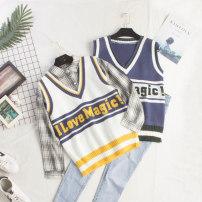 Vest Autumn of 2018 Jeans, blue vest, white vest, grey shirt Average size routine V-neck commute No buckle 103 # letter vest camisole 18-24 years old 31% (inclusive) - 50% (inclusive) cotton Embroidery cotton