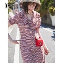Dress Summer of 2019 bright red XS,S,M,L Short skirt singleton  Short sleeve commute other High waist lattice Single breasted Ruffle Skirt bishop sleeve 25-29 years old Oece lady More than 95% other