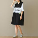 Dress Summer 2021 Black, gray M, L Mid length dress singleton  Short sleeve commute Hood Loose waist letter Socket routine literature Frenulum 71% (inclusive) - 80% (inclusive) cotton