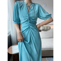 Dress Summer 2020 blue S,M,L longuette singleton  Short sleeve commute V-neck High waist Solid color Socket Big swing puff sleeve 25-29 years old Type A VTHESHOP Fold, lace up VTS001120052904 More than 95%