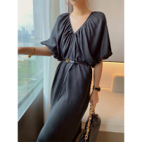 Dress Summer 2020 black S,M,L longuette singleton  Short sleeve commute V-neck High waist Socket Bat sleeve 25-29 years old Type H VTHESHOP More than 95%