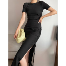 Dress Summer 2020 black S,M,L longuette singleton  Short sleeve commute Crew neck High waist Solid color Socket One pace skirt 25-29 years old Type H VTHESHOP Pleating More than 95% cotton