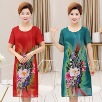 Middle aged and old women's wear Summer of 2018 4XL 5XL XL XXL XXXL Red green black commute Dress easy singleton  Decor 40-49 years old Socket thin Crew neck Medium length routine 1789#19-551 Chiffon 91% (inclusive) - 95% (inclusive) Medium length Chiffon Korean version