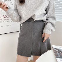 skirt Summer 2020 S,M,L Black, dark grey Short skirt Versatile Natural waist Pleated skirt Solid color Type A 18-24 years old More than 95% Chiffon polyester fiber