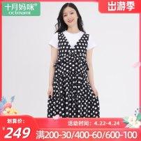 Dress october mommy  Black dots M,L,XL Korean version Short sleeve Medium length summer Crew neck Dot