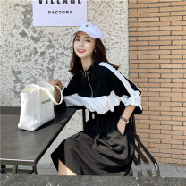 Women's large Spring 2021, summer 2021 Black and white stitching Large XL, large XXL, large XXL, large XXXXL, large L singleton  commute moderate three quarter sleeve Solid color Korean version other cotton other Other / other 25-29 years old 81% (inclusive) - 90% (inclusive) Middle-skirt other
