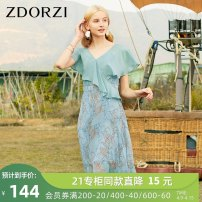 Dress Spring 2020 Shallow water green S M L XL XXL Mid length dress singleton  Short sleeve commute V-neck High waist Decor Socket Ruffle Skirt Lotus leaf sleeve 25-29 years old Type X Zdorzi / Zhuo Duozi Retro Ruffle printing More than 95% Chiffon polyester fiber Polyester 100%