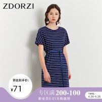 Dress Summer of 2019 Sapphire blue black S M L XL Mid length dress singleton  Short sleeve commute Crew neck middle-waisted stripe Socket One pace skirt routine Others 25-29 years old Type H Zdorzi / Zhuo Duozi Korean version More than 95% other cotton Cotton 100%