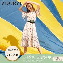 Dress Summer 2020 Sabai S M L XL XXL Mid length dress singleton  elbow sleeve commute stand collar Elastic waist Decor Socket A-line skirt Lotus leaf sleeve 25-29 years old Type X Zdorzi / Zhuo Duozi lady Auricularia auricula with bow and lotus leaf More than 95% Chiffon polyester fiber