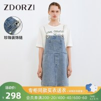 Dress Summer 2021 Denim blue S M L XL Short skirt singleton  commute Loose waist A-line skirt camisole 25-29 years old Type H Zdorzi / Zhuo Duozi Simplicity Chain Pocket 81% (inclusive) - 90% (inclusive) cotton Same model in shopping mall (sold online and offline)