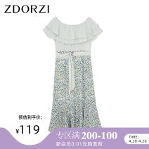 Dress Summer 2020 Shimmering green S M L XL XXL Mid length dress singleton  commute One word collar High waist Decor Socket Ruffle Skirt Lotus leaf sleeve 25-29 years old Type X Zdorzi / Zhuo Duozi lady Lotus leaf edge More than 95% Chiffon polyester fiber Polyester 100%
