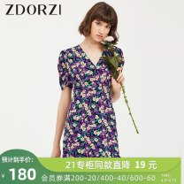 Dress Summer 2020 Apricot purple S M L Short skirt singleton  Short sleeve commute V-neck High waist Decor Ruffle Skirt puff sleeve 25-29 years old Type X Zdorzi / Zhuo Duozi Retro Lotus leaf edge More than 95% polyester fiber Polyester 100%