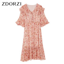 Dress Summer 2020 Pink apricot S M L XL XXL Mid length dress singleton  Short sleeve commute V-neck Elastic waist Decor Socket Ruffle Skirt pagoda sleeve 25-29 years old Type X Zdorzi / Zhuo Duozi lady Beaded lace printing More than 95% Chiffon polyester fiber Polyester 100%